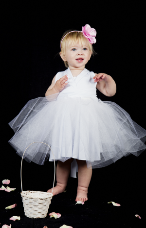 Todlers Flower Girl Dress with Tulle Skirt