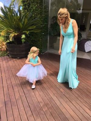Sleeveless Amber-Rose Flower Girl Dress with Tulle Skirt