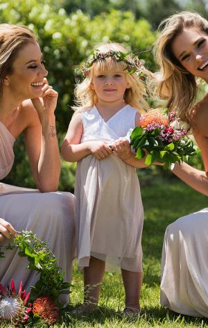 Sleeveless Amber-Rose Flower Girl Dress with Gliiter Mesh Skirt