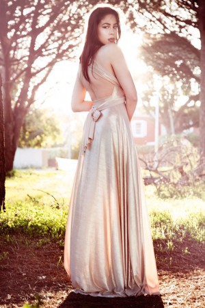 Metallic Gold Infinity Dress Open Back