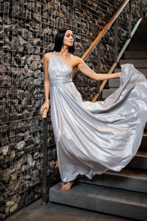 Mishka Patel - Metallic Silver Infinity Dress