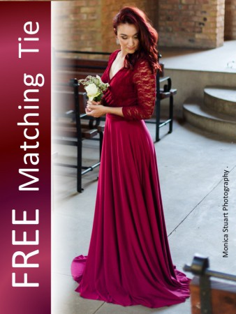 Amber Rose Bridesmaids Dresses with FREE Matching Ties