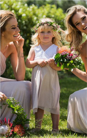 Sleeveless Amber-Rose Flower Girl Dress with Gliiter Mesh Skirt