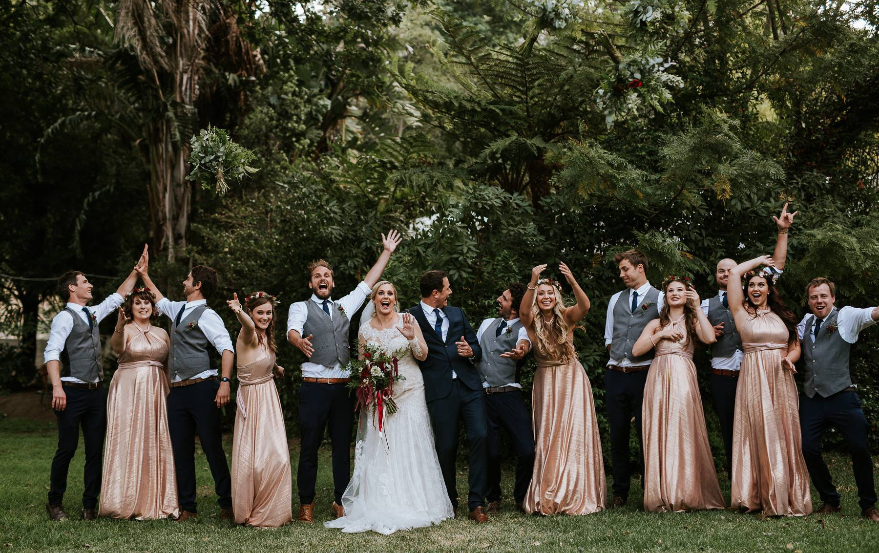Metallic Rose Gold Bridesmaids Dress, Nicola's Wedding, South Africa